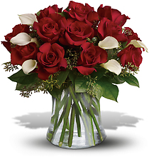 Be Still My Heart - Dozen Red Roses with Calla Lillies